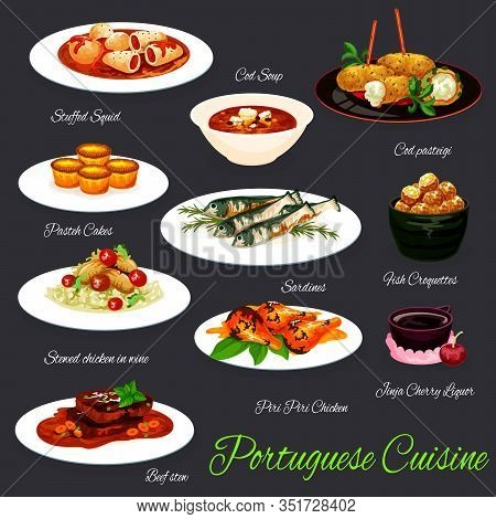 Portuguese Food Vector Design Of Grilled Sardines, Fish Soup And Croquettes, Stuffed Squid, Beef Ste