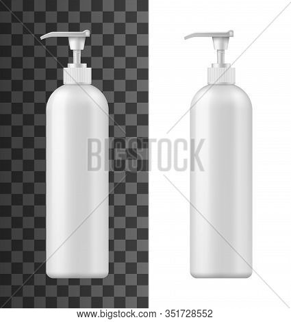 Bottle With Pump Dispenser 3d Vector Mockups Of White Plastic Cosmetic Containers. Realistic Templat