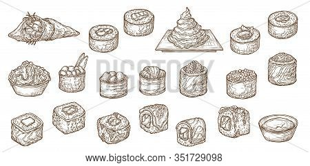 Japanese Sushi Sketches Of Asian Food Vector Design. Sushi Rolls, Maki And Nigiri With Fish, Seafood