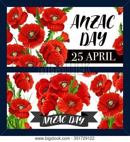 Anzac Day Poppy Flowers Vector Design Of Australian And New Zealand Army Soldiers Remembrance Annive
