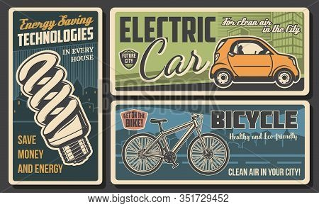 Energy Savings And Eco Transport Retro Banners Of Ecology And Environment Protection Vector Design.