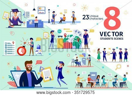 College Campus Life, University Students Education Trendy Flat Vector Scenes Set. Students Traveling