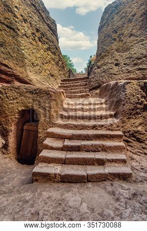 Exterior Labyrinths With Stairs Between Lalibela Churches In Ethiopia Carved Out Of The Bedrock. Une