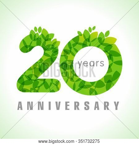 20 Th Anniversary Numbers. 20 Years Old Congrats. Congratulation Sign With Leaves. Isolated Abstract