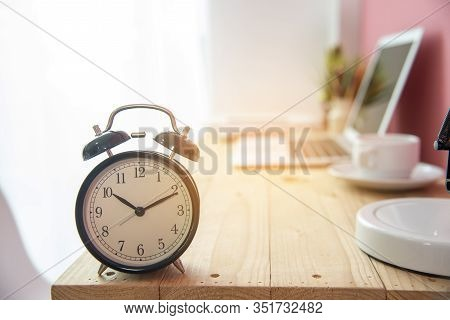 Alarm Clock On Work Tale Deadline Time Business Concept. Alarm Awake Reminder Appointment Time Agend