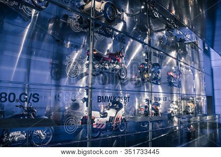 Munich/ Germany - May, 24 2019: History Collection Of Bmw Motocycles In Bmw Museum/ Bmw Welt
