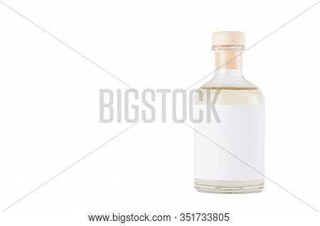Transparent Glass Bottle For Cosmetic, Perfume, Alcohol Drink With  White Label, Cork, Yellow Liquid
