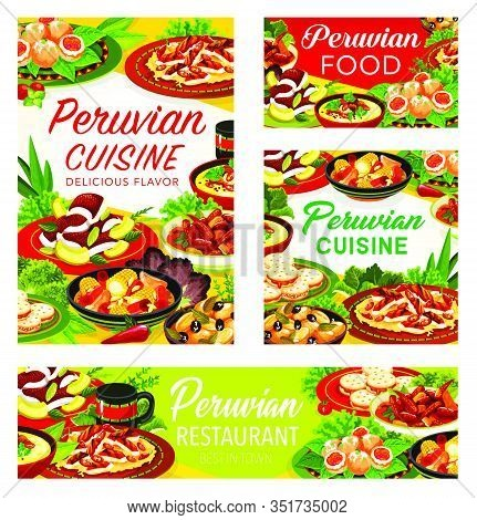 Peruvian Restaurant Dishes With Meat, Fish, Vegetable And Dessert. Grilled Chicken Chilli Salad, Bee