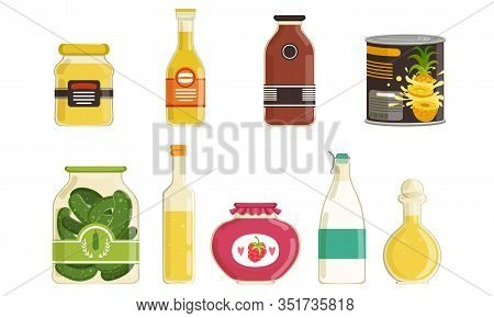 Canned Food Collection, Various Grocery Goods, Preserved Food In Sealed Cans And Jars Vector Illustr