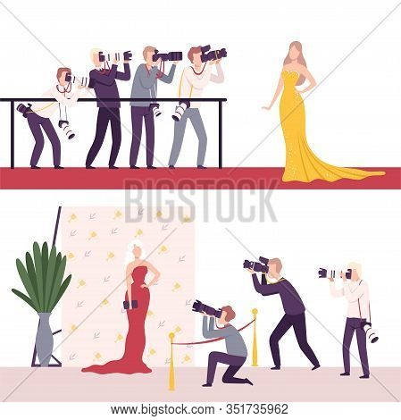 Celebrities Posing To Paparazzi Set, Photographers With Cameras Photographing At Movie Festival, Pre