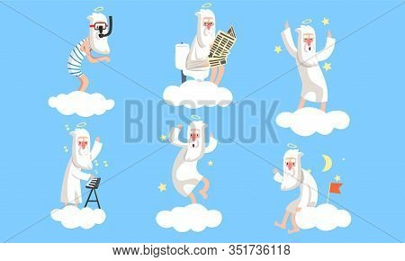 Collection Of Funny Elderly Male Angel Comic Character In Different Situations, Activity Of Holy Old