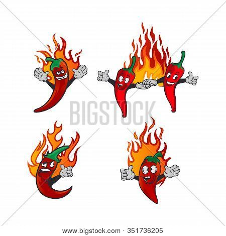 Vector Set Illustration Of A Spicy Chilli Peppers With Flame. Cartoon Red Chilli For Mexican Or Thai