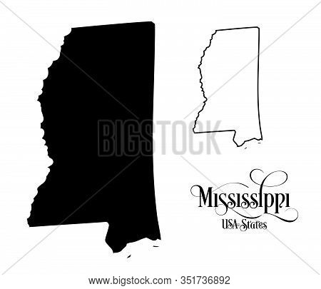 Map Of The United States Of America (usa) State Of Mississippi - Illustration On White Background.