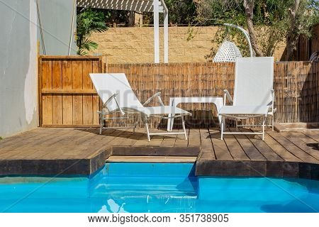 Deckchair Pool Side Outskirts Villa Back Yard Relaxation Space Exterior Furniture Environment In Sum