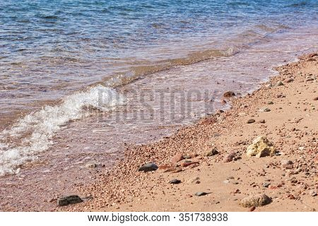 Sea Side Coast Beach Sand Stone Ground Textured Surface And Clean Water Perspective Simple Backgroun