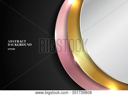 Abstract Modern Golden, Silver, Pink Gold Circle Overlapping Layered On Black Background With Lighti