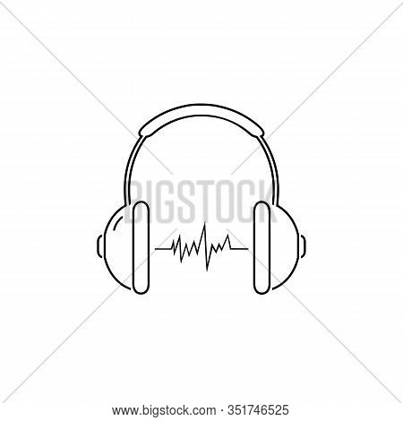 Headphone Headset Line Icon In Flat Style. Headphones Vector Illustration On White Isolated Backgrou