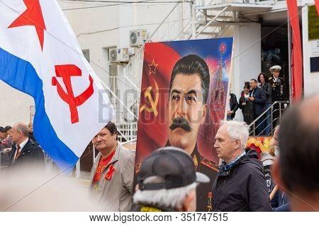 Anapa, Russia - May 9, 2019: Portrait Of Joseph Vissarionovich Stalin At A Festive Procession In Hon
