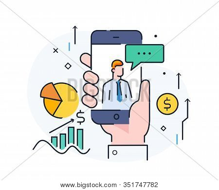 Expert Gives Advice Online. Virtual Communication Smartphone. Cooperation Interaction. Vector Illust