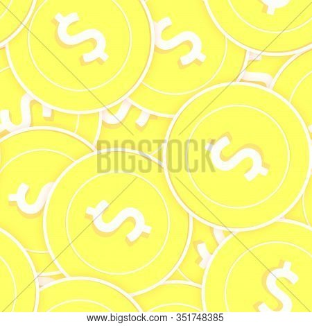 American Dollar Gold Coins Seamless Pattern. Exquisite Scattered Yellow Usd Coins. Success Concept.