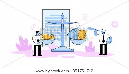 Two Businessmen Standing Next To The Scales With Stars And Money. Competition, Benchmarking, Evaluat