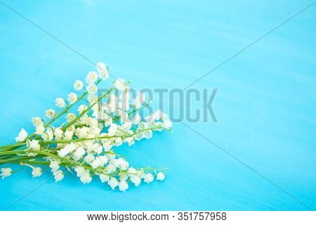 Wonderful Fragrant White Flowers With A Delicate Scent. Lily Of The Valley On Blue Wooden Background