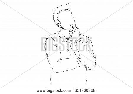 One Continuous Single Drawn Line Art Doodle Businessman Thinks, Decides, Idea, Customer Relationship