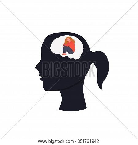 Girl On Psychotherapy. Big Head. Psychology. Melancholy, Depression, Oppression. Vector Illustration