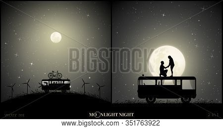 Set Of Vector Illustration With Silhouette Of Loving Couple Traveling In Camper On Moonlit Night. Re