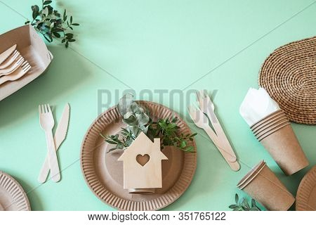 Eco-friendly Disposable Utensils Made Of Bamboo Wood And Paper On A Trending Background.