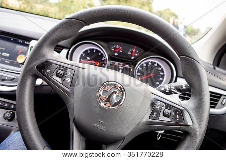 Inverness, Scotland - August 7 2019: Steering Wheel And Dashboard Of A New Vauxhall (opel) Astra Veh