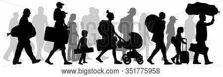 Crowd People Immigrant. Silhouette Isolated Vector Illustration