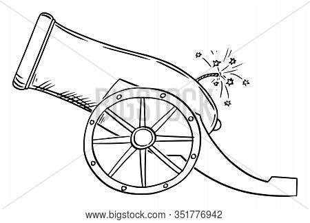 Vector Cartoon Drawing Conceptual Illustration Of Old Artillery Gun Or Cannon, Side View.
