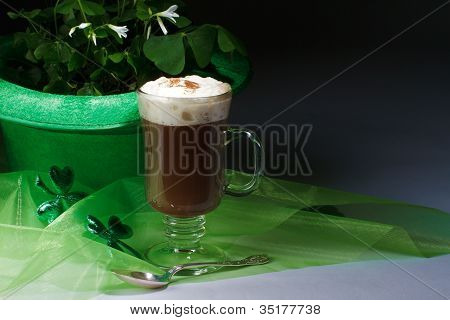 Shamrocks And Irish Coffee On Dark