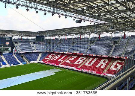 Salzburg, Austria - September 2018: View At Fc Red Bulls Arena