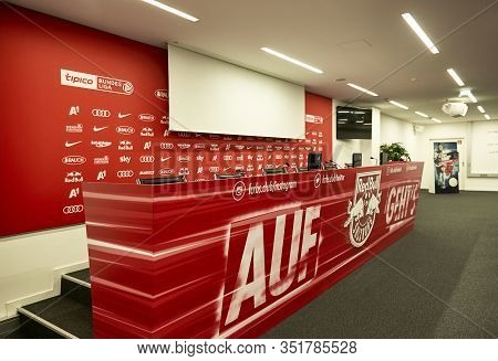 Salzburg, Austria - September 2018: Press Conference Room At  Fc Red Bulls Arena