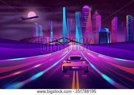 Modern City Highway Neon Cartoon With Sport Car Moving Fast At Night On Three-way High Speed Motorwa