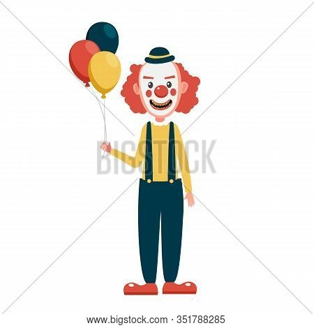 Scary Clown Creepy, Spooky, Horror Faces With Balloons. Scary Clown Character Isolated On White Back