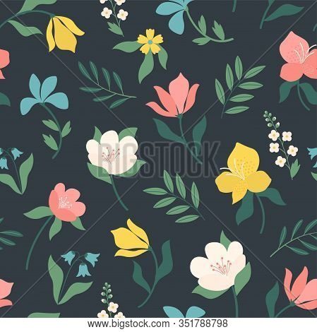 Seamless Bright Scandinavian Floral Pattern. Great For Fabric, Textile. Vector Illustration.