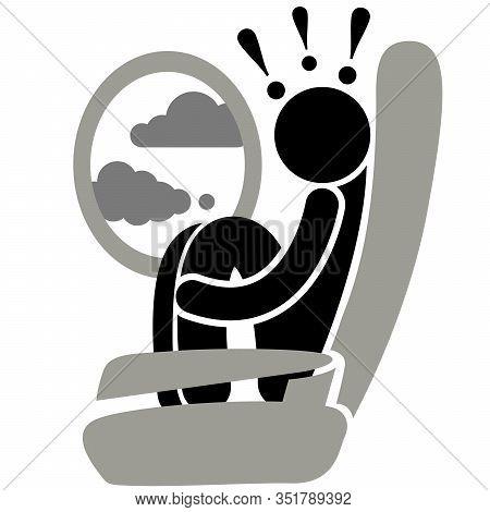Aviation Phobia. Aerophobia. Phobia. Turbulence. Fear Of Flying. Logo, Icon, Silhouette, Sticker, Si