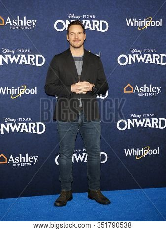 Chris Pratt at the World premiere of Disney And Pixar's 'Onward' held at the El Capitan Theatre in Westwood, USA on February 18, 2020.