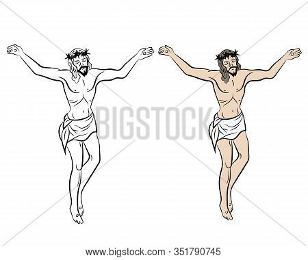 Jesus On The Cross. Crucifixion Of Jesus On The Cross In Isolate On A White Background. Vector Illus