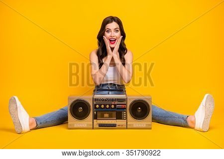 Full Length Photo Of Pretty Cheerful Lady Sit Floor Cozy Vintage Recorder Between Spread Legs Good M