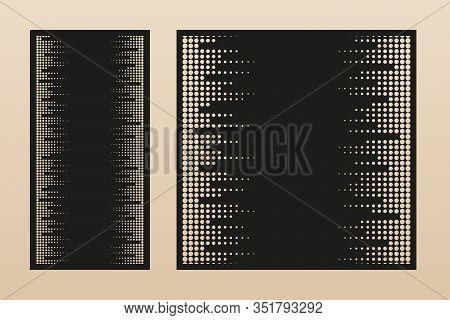 Laser Cut Panel. Vector Template With Modern Minimal Geometric Pattern, Halftone Dots Ornament, Grid
