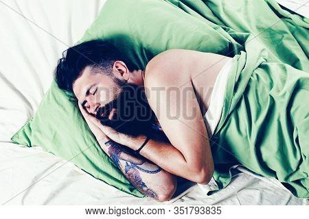 Man Sleep On Bed With Very Deep Sleep. Man Lying In Bed And Sleeping. Young Man Sleeping In Bed With