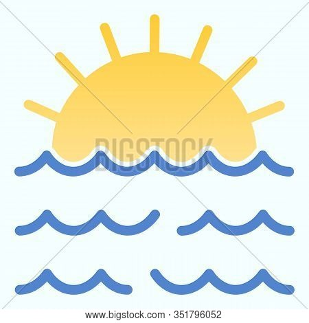 Sunset Flat Icon. Sunset And Sea Waves Illustration Isolated On White. Marine Sunset Gradient Style