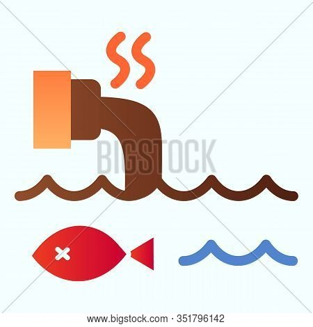 Water Pollution Flat Icon. Contaminated Dirty Sea Water And Pipe Illustration Isolated On White. Con