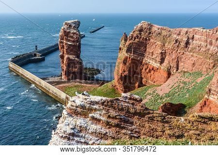 Famous Rock Lange Anna (tall Anna) At The German Offshore Island Helgoland, Germany