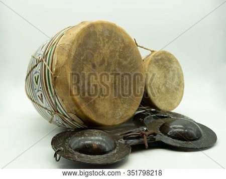 Krakebs And Moroccan Bongos. Isolated Traditional Moroccan Instruments On A White Background. Concep