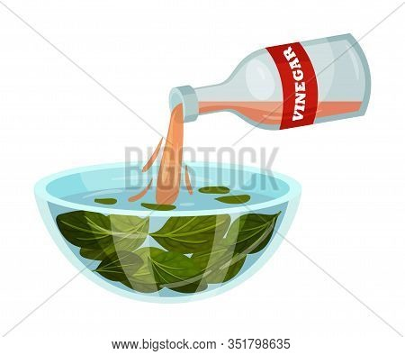 Dressing Salad With Vinegar Isolated On White Background Vector Illustration